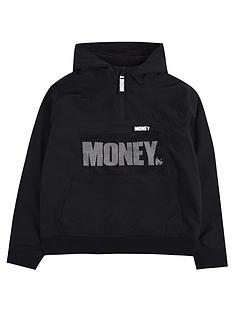 money-boys-mesh-detail-fleece-lined-windbreaker-black