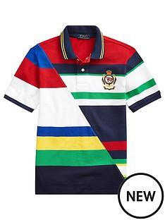 059d8ab87 Ralph Lauren Boys Short Sleeve Colourblock Badge Polo Shirt - White Multi