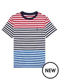 676f5922c Ralph Lauren Boys Short Sleeve Multi Stripe T-Shirt - Red Multi