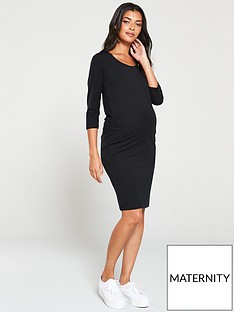 mama-licious-maternity-organic-three-quarter-sleeve-dress-black