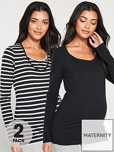 mama-licious-maternity-nursing-long-sleeve-tops-2-packnbsp--blackstripe