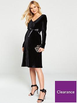 mama-licious-velvet-long-sleeve-maternitynbsp-dress-black
