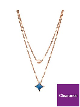 fossil-rose-gold-and-blue-mother-of-pearl-double-layer-necklace