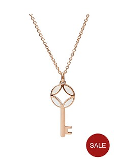 fossil-fossil-signature-rose-gold-and-mother-of-pearl-key-pendant-ladies-necklace