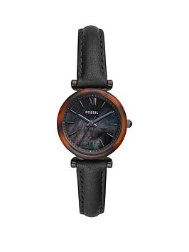 fossil-fossil-carlie-black-and-tortoise-shell-28mm-dial-black-leather-strap-ladies-watch
