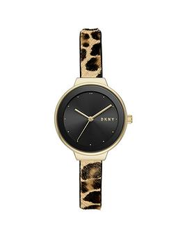 dkny-dkny-astoria-black-and-gold-detail-dial-leopard-print-pony-hair-strap-ladies-watch