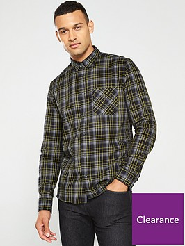 hugo-ermann-check-long-sleeve-shirt-blackgrey
