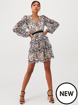 u-collection-forever-unique-long-sleeve-lace-frill-skater-dress-black-ivory