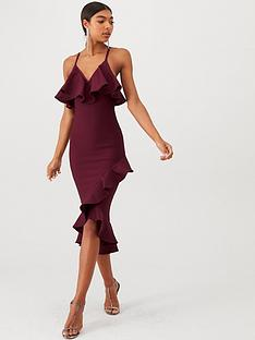 u-collection-forever-unique-frill-detail-bandage-midi-dress-wine