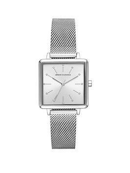 armani-exchange-armani-exchange-silver-sunray-glitz-square-dial-stainless-steel-mesh-strap-ladies-watch