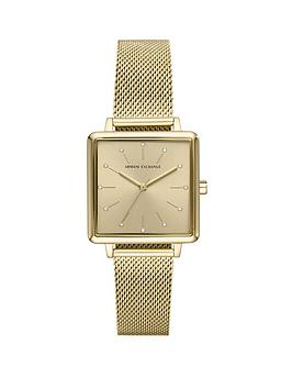 armani-exchange-armani-exchange-gold-sunray-glitz-square-dial-gold-stainless-steel-mesh-strap-ladies-watch