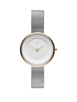 MVMT Mvmt Mvmt Mod White And Gold Detail 28Mm Dial Stainless Steel Mesh  ... Picture