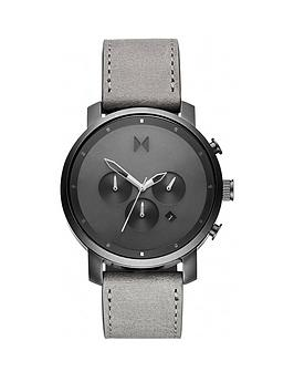 MVMT Mvmt Mvmt Grey Chronograph Dial Grey Leather Strap Mens Watch Picture