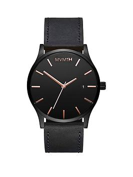 MVMT Mvmt Mvmt Classic Black And Rose Gold Date Dial Black Leather Strap  ... Picture