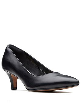 Clarks Clarks Linvale Jerica Wide Fit Mid Heel Court Shoes - Black Picture