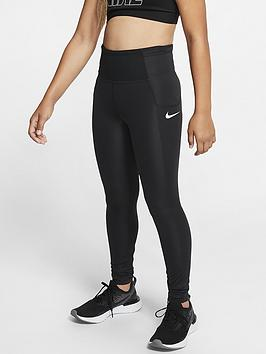 Nike Nike Girls Train Studio Leggings - Black/White Picture
