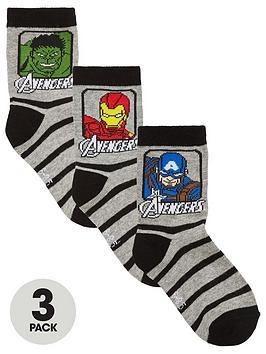 Marvel Marvel Avengers Boys 3 Pack Socks - Grey/Black Picture