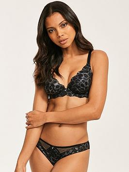 Figleaves Figleaves Juliette Lace Animal Foil Bra - Black Picture