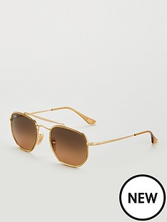 ray-ban-the-marshalnbsphexagonal-sunglasses-gold