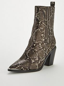 V by Very V By Very Rogue Western Block Heel Point Calf Boots - Snake Print Picture