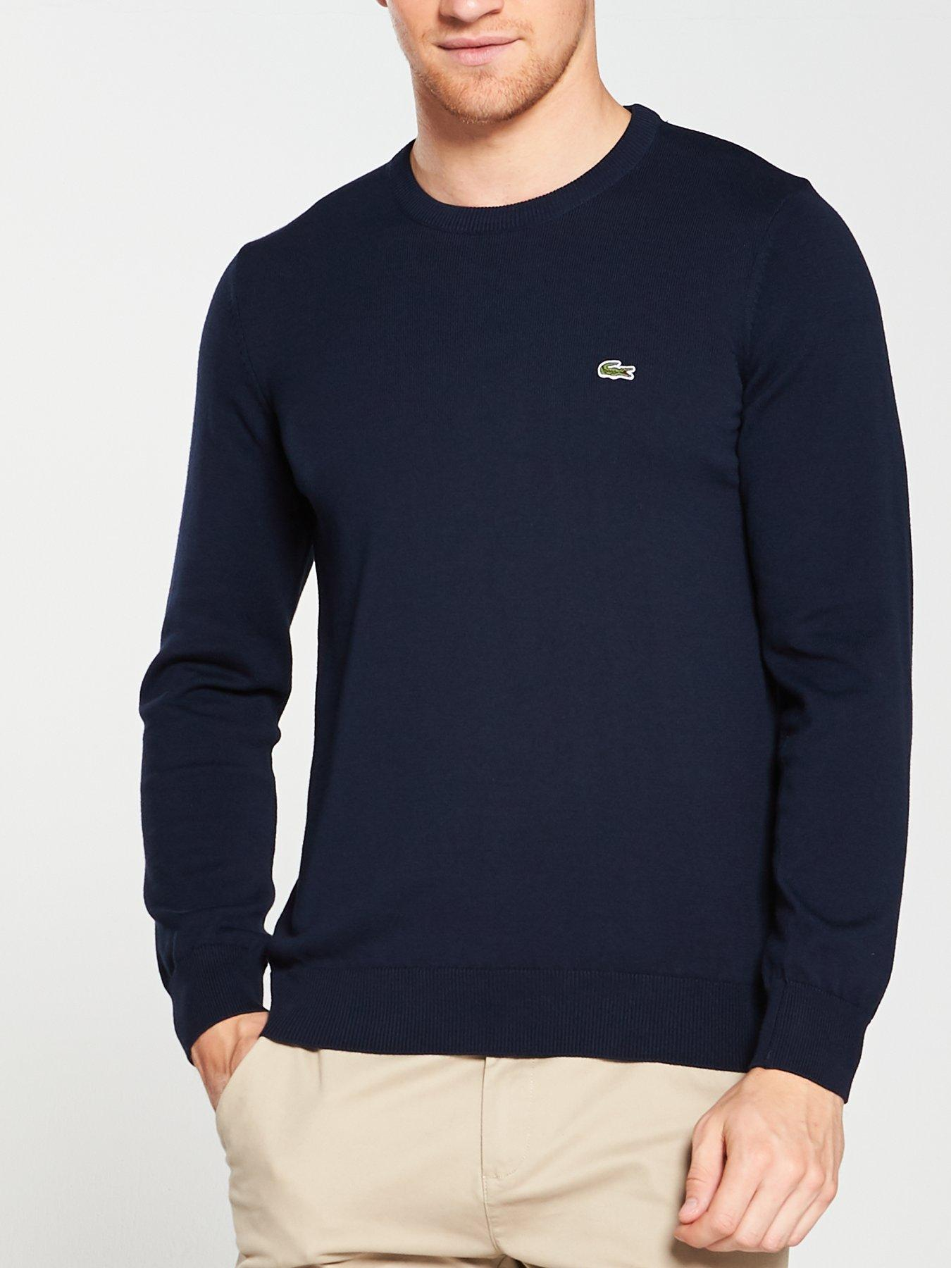Fancy Stitch Mens Double-Layers-Crewneck Soft Wool Sweater Top