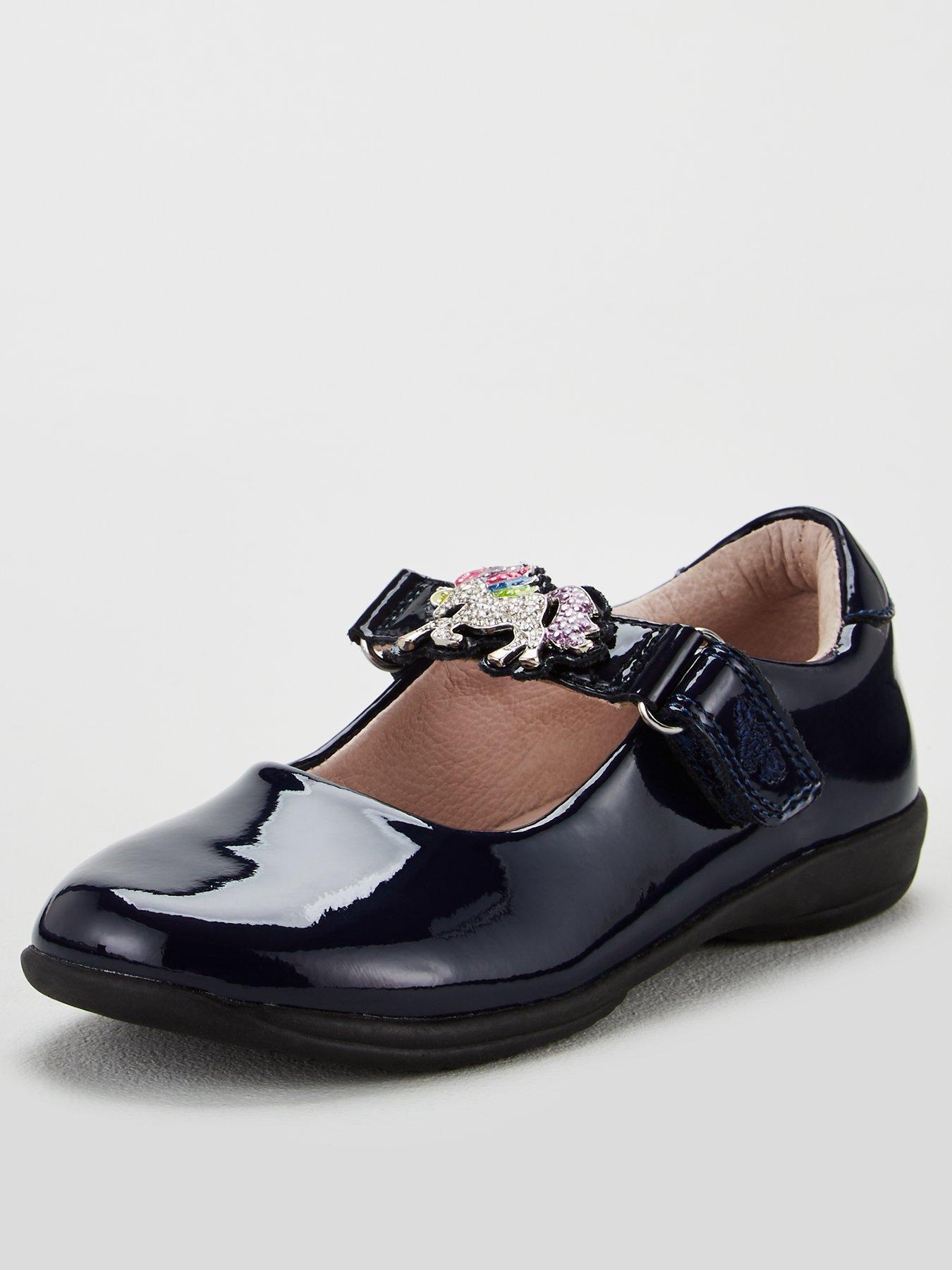 Dolly Babe Girls Clarks/' Rounded Toe Riptape Strap School Shoe