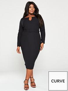 v-by-very-curve-belted-rib-midi-dress-black