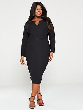V by Very Curve V By Very Curve Belted Rib Midi Dress - Black Picture