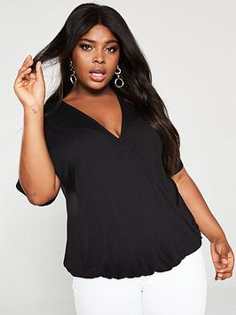 V by Very Curve V By Very Curve Jersey Wrap Top - Black Picture