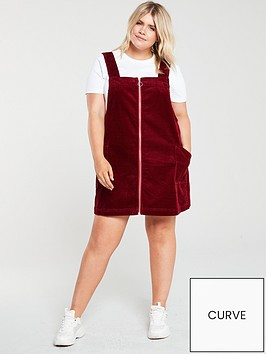 v-by-very-curve-cord-mini-pinafore-dress-burgundy