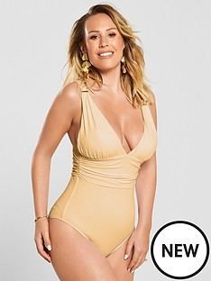 98999f15b17 Kate Wright Ruched Waist High Leg Swimsuit - Nude