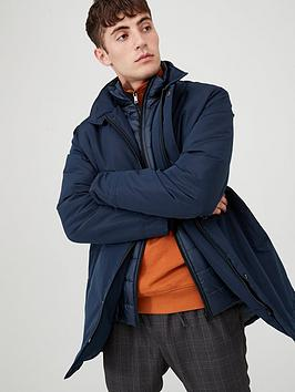 V by Very V By Very Mock 2 In 1 Funnel Neck Coat - Navy Picture
