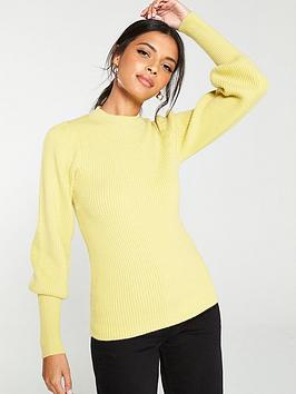 v-by-very-puff-sleeve-rib-knit-jumper-chartreuse