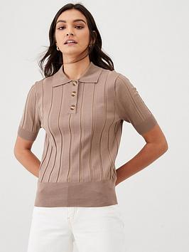 V by Very V By Very Knitted Polo Top - Camel Picture