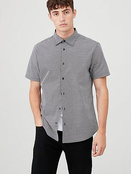 V by Very V By Very Short Sleeved Geo Print Shirt - Black/White Picture