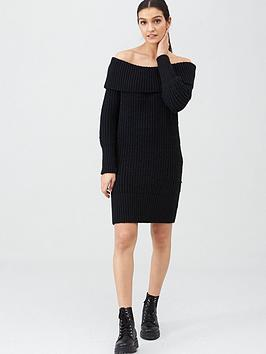 v-by-very-chunky-off-the-shoulder-dress-black
