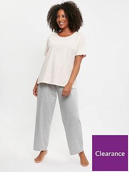 evans-glitter-star-top-grey-trouser-pj-multi