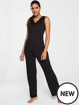 v-by-very-lace-trim-pj-set-black