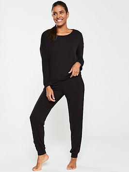 v-by-very-bubble-hem-lace-trim-top-with-long-pant-pj-set-black