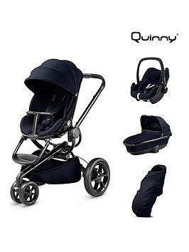 quinny quinny moodd pushchair 4-in-1 package with maxi-cosi pebble plus car seat, carrycot & footmuff - midnight blue