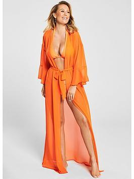 kate-wright-chiffon-beach-maxi-kimono-orange