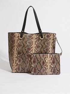 warehouse-snake-eyelet-shopper-brown
