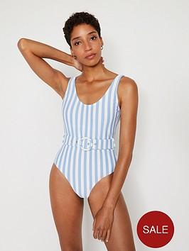 warehouse-breton-stripe-belted-swimsuit