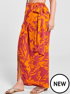 1c7c94c92bc5 Kate Wright Side Tie Maxi Skirt - Floral Print