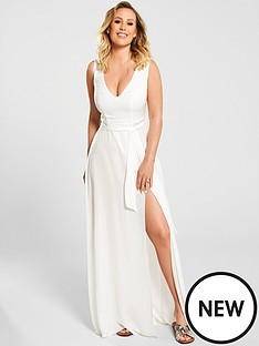 2ccaa44778 Kate Wright Sheer Textured Beach Plunge Maxi Dress - White