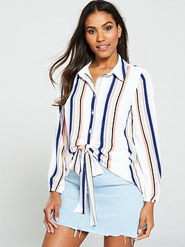 v-by-very-tie-front-longline-shirt--nbsp-stripe