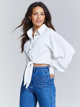 michelle-keegan-cropped-tie-front-blouse-ivory