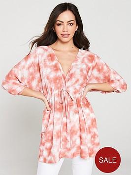 v-by-very-tie-dye-kimono-longline-blouse-pink