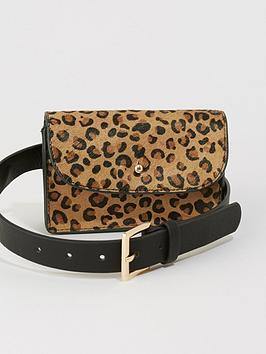 warehouse-leopard-leather-belt-bag