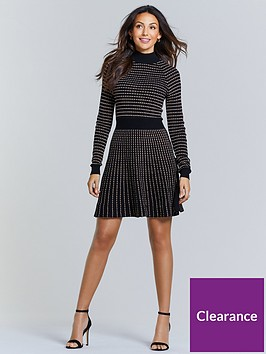 michelle-keegan-metallic-thread-knitted-dress-black-bronze